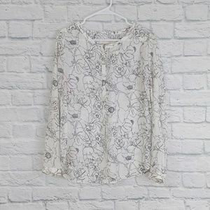 LOFT | B&W Floral Print Half Button Sheer Blouse